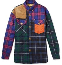 Versace Quilted Panelled Checked Wool Blend Shirt Jacket Blue