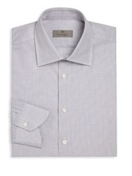 Canali Regular Fitchecked Dress Shirt Lavender