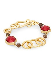 Stephanie Kantis Nobility Crimson Red Crystal And Smoky Topaz Bracelet Gold