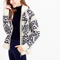 J.Crew Abstract Fair Isle Zip Cardigan