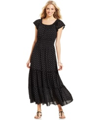 Style And Co. Plus Size Flutter Sleeve Printed Peasant Maxi Dress