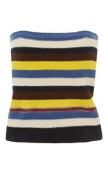 Marni Strapless Striped Knit Top Blue