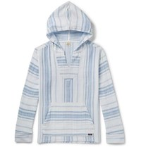 Faherty Baja Striped Cotton Hoodie Light Blue