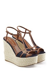 Sergio Rossi Leather And Denim Wedge Sandals