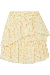 Loveshackfancy Genevieve Tulle Trimmed Floral Print Cotton Mini Skirt Pastel Yellow