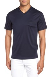 Calibrate Trim Fit Tipped V Neck T Shirt Navy Blue