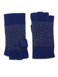 Saks Fifth Avenue Knit Fingerless Gloves Blue