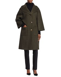 Michael Kors 3 Button Wool Car Coat Olive Green