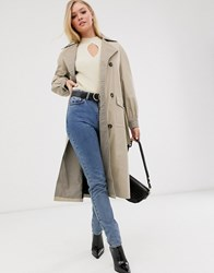 Neon Rose Oversized Trench Coat With Check Contrast Collar Brown