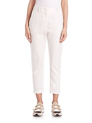 Brunello Cucinelli Linen And Cotton Paillette Pinstripe Pants White