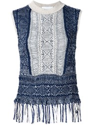 Mame Frayed Knit Tank Top Blue
