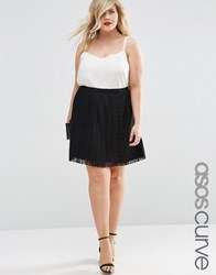 Asos Curve Pleated Lace Mini Skirt Black