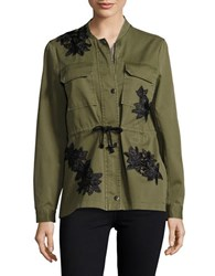 Vero Moda Embellished Zip Front Jacket Ivy Green