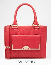 Ri2k Leather Handheld Tote In Faux Snake Oxblood