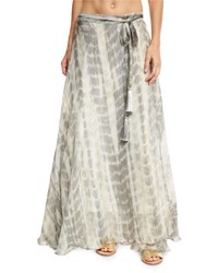 Flora Bella Sandals Tie Dye Silk Maxi Skirt Brown Brown Pattern