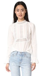 Endless Rose Semi High Neck Top With Belle Sleeves Off White
