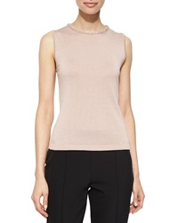 Escada Sleeveless Knit Top With Sequin Trim Gloss Pink