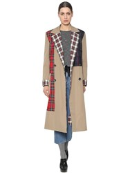 Isa Arfen Cotton Canvas And Wool Plaid Trench Coat Beige