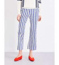 Mih Jeans Coler Flared Cropped Cotton Trousers Finnish Stripe