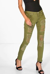 Boohoo Low Rise Heavy Distressed Skinny Jeans Khaki