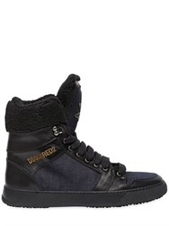 Dsquared Denim And Leather High Top Sneakers