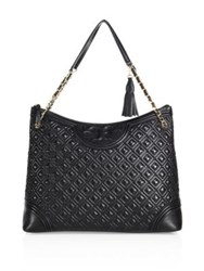Tory Burch Fleming Quilted Leather Tote Bedrock Black