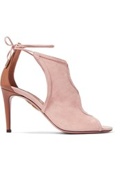 Aquazzura Nomad Cutout Suede And Leather Sandals Baby Pink