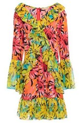 Michael Kors Collection Woman Ruffled Georgette Paneled Floral Print Silk Chiffon Mini Dress Multicolor