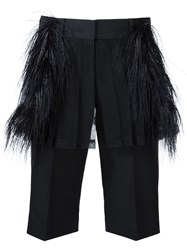Vera Wang Ostrich Feather Tailored Shorts Black