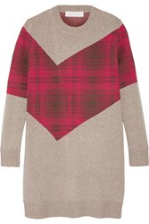 Thakoon Addition Addition Tartan Paneled Knitted Sweater Mushroom
