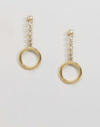 Gogo Philip Gold Plated Gem Drop Hoop Earrings Gold