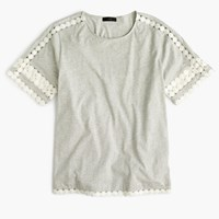 J.Crew Pre Order Lace Embroidered Top Hthr Cloud Sand