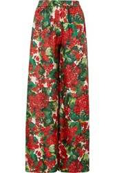 Dolce And Gabbana Floral Print Silk Twill Wide Leg Pants Red