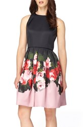 Tahari Women's Floral Mikado Fit And Flare Dress
