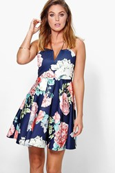 Boohoo Floral Strappy Skater Dress Navy