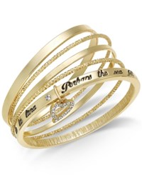 Thalia Sodi Gold Tone 5 Pc. Set Pave Heart Lyric Bangle Bracelets