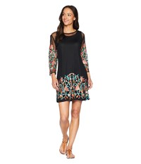 Scully Sandrah Two Piece Embroidered Mesh Dress Black