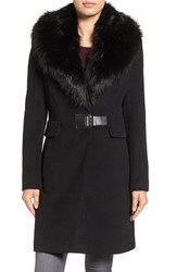 Ivanka Trump Women's Clip Closure Faux Fur Collar Wool Blend Coat