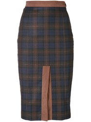 I'm Isola Marras Front Slit Check Skirt Blue