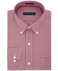 Tommy Hilfiger Men's Classic Regular Fit Red Check Dress Shirt