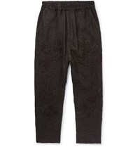 By Walid Morton Tapered Cropped Embroidered Linen Trousers Black