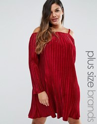 Club L Plus Off Shoulder Smock Dress In Pleated Velvet Wine Velvet Red