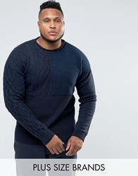 Bellfield Plus Jumper With Mixed Textures Navy