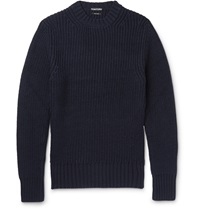 Tom Ford Slim Fit Chunky Knit Wool Sweater Blue