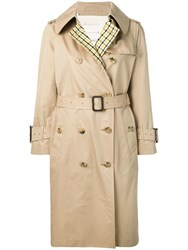 Mackintosh Checked Back Trench Coat Neutrals
