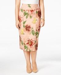 Melissa Mccarthy Seven7 Trendy Plus Size Midi Skirt Unfinished Floral