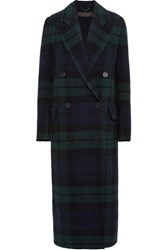 Burberry Double Breasted Tartan Wool And Cashmere Blend Coat Navy