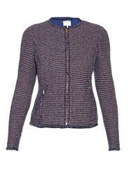 Rebecca Taylor Collarless Graphic Tweed Jacket
