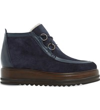 Dune Black Parla Suede Ankle Boots Navy Suede