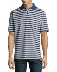 Peter Millar Convention Striped Polo Shirt Dark Blue